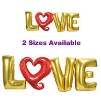 Gold & Red Heart LOVE Letter Balloons, Valentine Wedding Engagement Party Decor