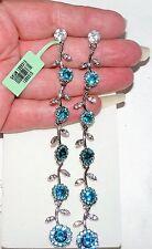 """Sparkling Clear & Blue Austrian Crystal Drop / Dangle Earrings 4 3/4"""""""