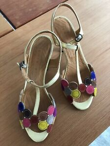 Chie Mihara Vory gold and suede sandals Size 37