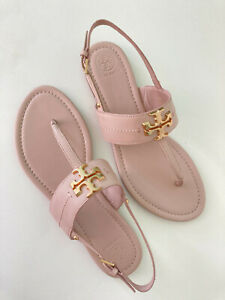 NWB Tory Burch Everly Calf Leather Flat Thong Sandals Sz 9M Sea Shell Pink
