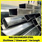 25x50mm 6m RHS Galvanised Steel Rectangular Steel Tube Mill Finish