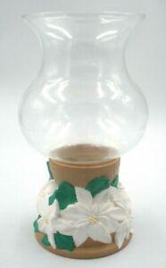 "Large Glass Swirl Dome Globe Handmade Ceramic Hurricane Candle Holder Flower 12"""