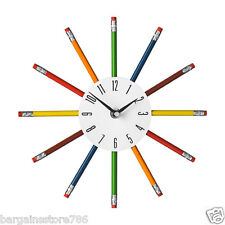 Multi Colour Funky Wall Clock Pencil Nursery Kids Bedroom Home Office Watch Time