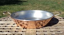 """Hammered Copper 13"""" Paella Pan/Gratin w/ thick rolled lip, Made in Italy"""