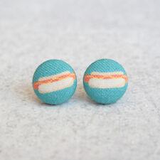 Hot Dog Fabric Button Earrings