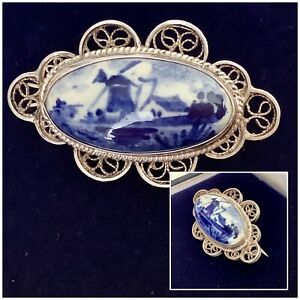 Vintage Jewellery Silver Filigree DELFT Dutch Windmill Scene Brooch Pin