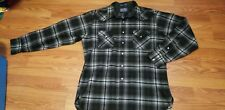VTG PENDLETON HIGH GRADE WESTERN SHADOW PLAID PEARL SNAP WOOL SHIRT SZ XL LONG