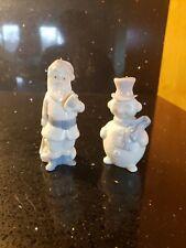 Signed Lladro Porcelain Christmas Ornaments 5842 Santa Claus 5841 Snowman Euc