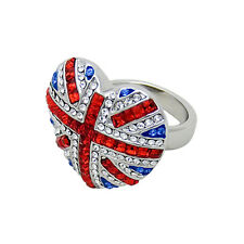 Butler and Wilson Crystal Union Jack Heart Ring ONESIZE NEW BLACK FRIDAY RRP £28