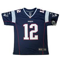 Nike NFL New England Patriots #12 BRADY Blue Jersey Youth M Women's 10/12 BNWT
