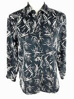 Pendleton Womens Silk Blend Button Front Blouse Top S Small Vtg Black Floral Euc
