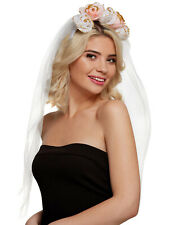 Ladies Veil + Floral Headband Hen Do Vintage Flowers Summer Fancy Dress Bride