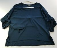 Sympli Women's 3/4 Sleeve Blouse Top Sz 10 Blue Crewneck Popover Stretch Casual