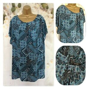 EVANS TUNIC TOP Size 28 , PLUS SIZE , Blue Short Sleeve Holiday Occasion Top