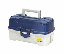 Plano 2-Tray Tackle Box with Dual Top Access Blue Metallic/Off . Free Shipping