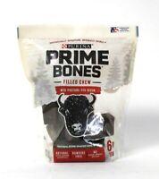 1 Bag Purina 22.6 Oz Prime Bones With Pasture Fed Bison 6 Pack Med Filled Chew