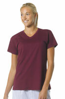 A4 Women's Moisture Stain Resistant Short Sleeve Fusion V Neck T-Shirt. NW3232