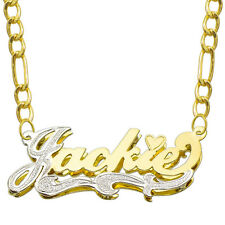 14K Two Tone Gold Personalized Double Plate 3D Name Necklace - Style 2