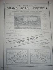 GRANDE PUBLICITÉ ANCIENNE 1884 SAN REMO GRAND HOTEL VICTORIA AGENCE CONGREVE