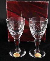 Pair stunning Royal Brierley Vintage Lead Crystal small Liqueur Shot Glasses box
