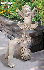 Celestial Tumble Twins Baby Angel Cherub Handmade Garden Statue Set of 2