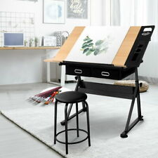 Student Drafting Table Art Stand Tilt Drawing Work Desk with Stool and Drawer