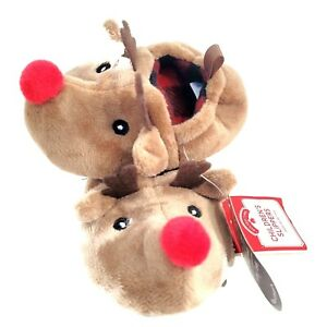 Holiday Time Toddler Christmas Reindeer Slippers 3 Tan 3-6M Holiday Shoes NEW