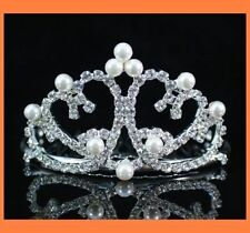HEART CLEAR AUSTRIAN RHINESTONE CRYSTAL IMITATED PEARL TIARA HAIR WITH COMB W115