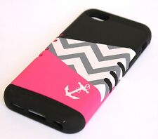 For iPhone 5C - HARD&SOFT RUBBER HYBRID HIGH IMPACT SKIN CASE PINK ANCHOR SAILOR