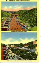 Hot Springs Arkansas-Then & Now-1875 & Modern City Street View-Vintage Postcard