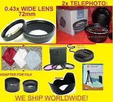 23pcs: 2.2x TELEPHOTO+0.43x WIDE ANGLE LENS 72mm+ADAPTER  FUJI S3300 S3400 HD