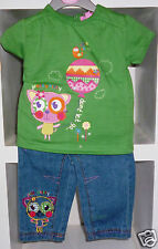 BABY GIRL'S EMBROIDERED T-SHIRT AND JEANS SET- AGE 3-6 MONTHS - NEW