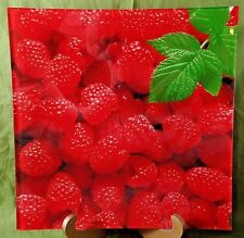 Raspberry Serving Platter Dish Tray Plate Realistic Mint Photograph 11 1/2 in