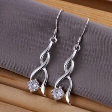 925  Sterling Silver PlatedTwist Drop Earrings + Crystal  + Bag UK Womens UK