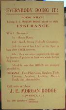 c1911 J E Morgan Dodge Insurance Lawrence Long Island NY advertising postcard