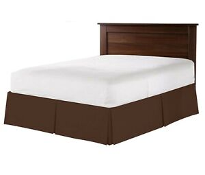 """550 TC 100% Egyptian Cotton Bedding 1X Bed Skirt 12"""" Drop Queen Chocolate Solid"""