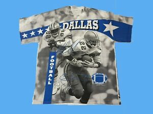 Vintage 90s Dallas Cowboys Wild Oats Emmitt Smith Michael Irvin All Over Shirt L