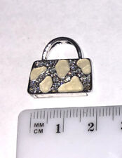White Purse Pendant with Crystals for Necklace Stainless Steel Jewelry PUR038