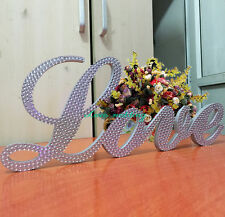 """Silver  Crystal scripted """"Love""""  standing sign Wedding letters Wedding sign"""