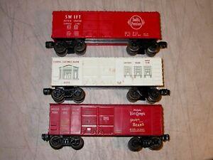 Postwar Lionel 0 6050 Lionel Savings Bank Car and Swift Bank Boxcar Van Camp's