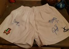 match worn Italy Rugby union signed shorts by the 3 Greats Italian Rugby