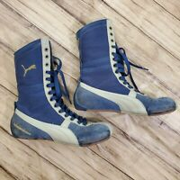 Puma Schattenboxen Men's Size 7 Blue Suede High Top Boxing Wrestling Shoes