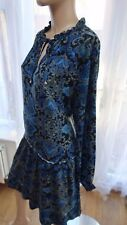 AH George 20uk Black blue long sleeve multi hippy boho midi skater dress smart