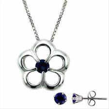 925 Silver Tanzanite CZ Flower Necklace & Stud Earrings Set
