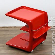 Alter Barwagen Hausbar Beistell Tisch Rollen Rot Würfel Vintage 60er 70er Jahre