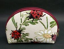 Ladybug Travel Makeup Bag Cute Cosmetic Bag Pouch Embroidered Cotton Tapestry