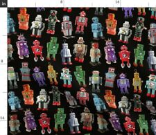 Vintage Robots Japanese Tin Retro Robot Fabric Printed by Spoonflower BTY