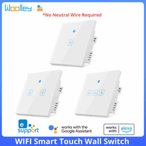 UK Smart WiFi Touch Wall Light Switch No Neutral Required App Control eWeLink