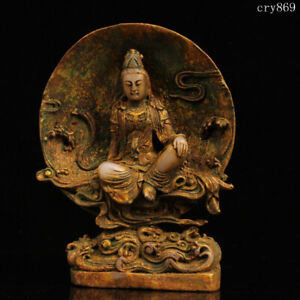 "8""collection old China antique Natural jade Gilding Guanyin statue"