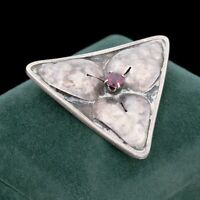 Antique Vintage Deco 925 Sterling Silver Amethyst Leaf Triangle Pin Brooch 10g